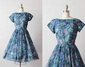 Vintage 1950s Chiffon Party Formal Dress / 50s Dress / Floral Watercolor Print / Size Medium