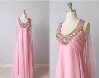 SALE Vintage 1960s Dress / Formal Dress / Evening Dress / Prom Dress / Pink / Spun Sugar
