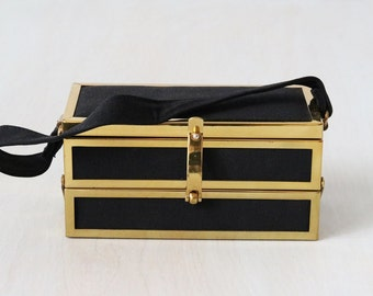 Vintage 1940s Black and Gold Handbag / 40s Box Handbag / Gold Metal Handbag / A Tisk and Task