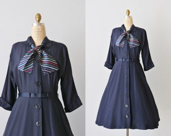 Vintage 1950s Navy Blue Full Skirt Striped Dress / 50s Dress / Pat Perkins