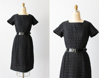 Black Lace Dress / Vintage 1960s Dress / Wiggle Dress / Eyelet Lace Dress / Ann Allyn