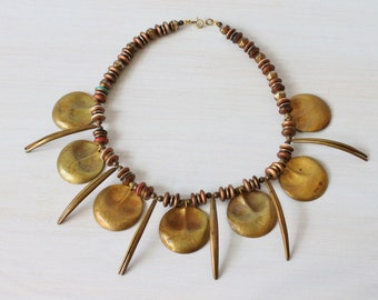Statement Necklace / Tribal Necklace / Copper Tones / 1970s Necklace / Ethnic Vibes