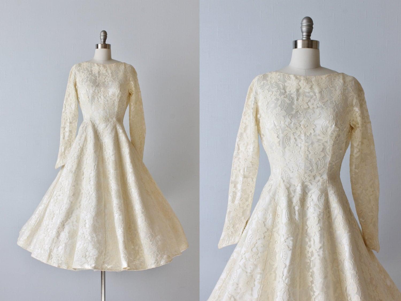 1950s lace tea length wedding dress gown princess seams for 1950s tea length wedding dress