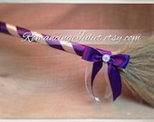 Classic Jump Broom Made in Your Custom Colors with Rhinestone Accent ..shown in soft gold/plum aubergine/ivory organza
