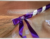 Classic Jump Broom Made in Your Custom Colors with Two Hearts Accent ..shown in eggplant purple/ivory