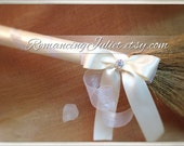 Classic Jump Broom Made in Your Custom Colors with Rhinestone Accent ..shown in white/ivory