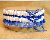 Satin Bridal Garter Set with Rhinestone Accents.. Shown in White and Royal Blue Cobalt...1 to Keep 1 to Toss...MANY COLORS AVAILABLE