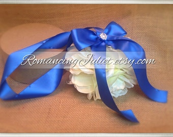 Lovely  7 Inch Silk Rose Pomander with Rhinestone Accent.. You Choose The Colors...shown in ivory/royal blue