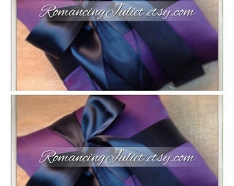 Romantic Satin Offset Ring Bearer Pillow...You Choose the Colors...SET OF 2...shown in eggplant purple/black
