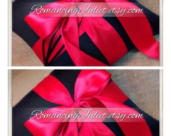 Romantic Satin Ring Bearer Pillow ...You Choose the Colors...SET OF 2...shown in black/red