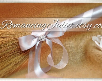 Classic Jump Broom Made in Your Custom Colors with Rhinestone Accent ..shown in silver gray/white