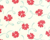 SUMMER SALE - 2 3/4 Yards - Quilt Backing Cut -  Hello Darling - Floral Ribbons in Red Aqua (55116-14) - Bonnie and Camille - Moda Fabrics