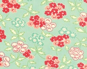 WINTER SALE - Hello Darling - 1 Yard - Medium Floral in Aqua (55113-13) - Bonnie and Camille for Moda Fabrics