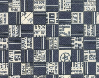 SUMMER SALE - Varsity - 1 yard - Game Time in Navy (5590 13) - Sweetwater for Moda Fabric