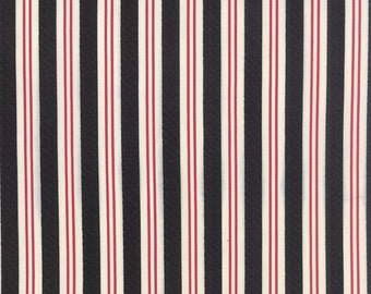 SUMMER SALE - Varsity - 1 yard - Rugby Stripe in Black Red (5597 14) - Sweetwater for Moda Fabric