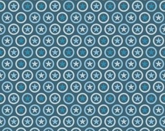 SPRING SALE - 2 yards - Lucky Star - C4831 - Star Circle in Navy - Zoe Pearn for Riley Blake Designs