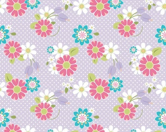 SPRING SALE - Dream and a Wish - 1 yard - C4811-Floral in Purple - Sandra Workman for Riley Blake Designs