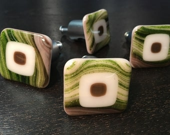 Fused Glass Kitchen Knobs Cabinet Pulls Drawer Pulls
