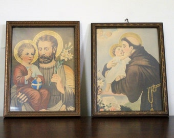 Antique Joseph and Jesus/St. Anthony and Jesus Framed Prints