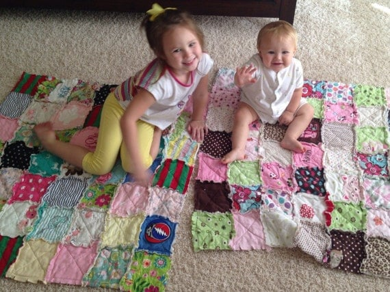 Memory Rag Quilts, made from your baby clothing, Tshirt Quilt, Baby Clothing Quilt, Toddlers Children, SMALL