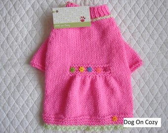 Hand Knit Dog Sweater, Flared Pet Sweater, Size SMALL, Button Patch Pink