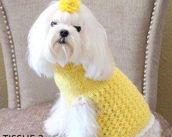 Textured Dog Sweater, Hand Knit Pet Sweater, Size XSMALL, Topper Yellow