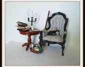 dollhouse Witch miniatures chair table set ooak wizard herb garden