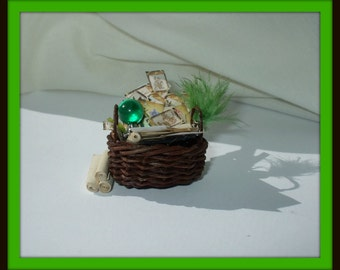 dollhouse miniature Gothic Witch Spell basket Potion ooak be custom made too