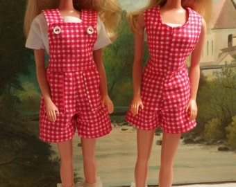 Red checkered overall set for barbie