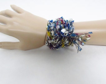 Beaded Crochet Wrap Bracelet in Blue, Silver, Magenta and Yellow with Tassel - Ready To Ship