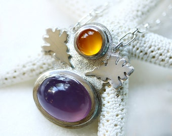 Lavender Chalcedony/ Carnelian/ Sterling Silver Necklace/ Oak Leaf/ Fall Necklace/ Textured Silver/ Purple/ Orange/ Autumn Necklace