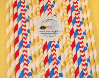 NEW - Big Tent Circus Straw Collection  (Qty 35)  DIY Flag Toppers - Red Straws, Yellow Straws, Blue Strays, Striped Straws, Dot Straws
