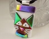 Cat Jewelry -Feline - Black Cat - Cat Pendant -Dichroic Fused Glass Jewelry - Kitty Necklace - Halloween Jewelry X3917