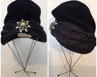 Blue Velvet Hat with Broach