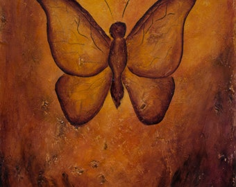 Butterfly print, earth tones print, freedom and forgiveness symbol, rust butterfly wall art