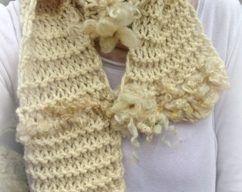 soft handknit alpaca winter scarf  -  gentlest journey