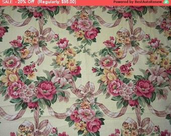 Vintage Barkcloth Fabric Roses