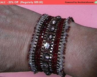 On SALE - Vintage Flapper Bracelet Beaded Rhinestones