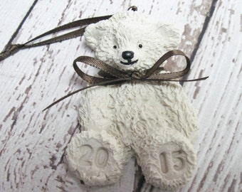 Polymer Clay Teddy Bear Ornaments, Personalized if desired