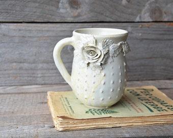 Stoneware Tea Cup  Handmade Ceramics  -  Stoneware - cream, white dots