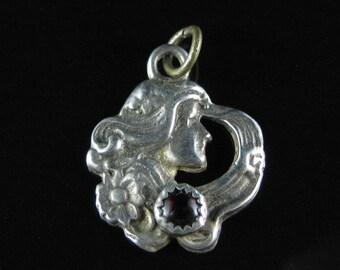 Pendant,  Sterling Silver, Art Nouveau Style, Women Portrait, Amethyst, Charm