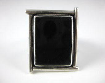 Ring, Size 10, Black Onyx, Sterling Silver, Large Stone Ring, Black Silver Ring, Rectangle Stone Ring
