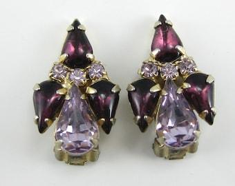 Vintage Purple Rhinestone Costume Clip on Earrings.