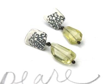 lemon quartz dangle earrings . bohemian floral post earrings . gemstone dangle earrings by peacesofindigo . ready to ship