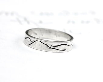 thin mountain wedding band ring . ecofriendly recycled silver stacking mountain landscape ring band . unisex alternative commitment ring