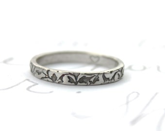 skinny thin wedding band ring with vines . recycled silver leaf vine engraved wedding rings bands .