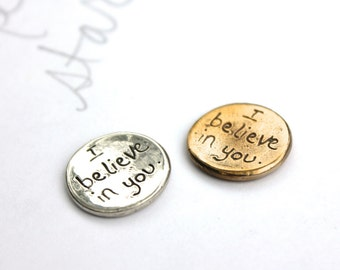 sale I believe in you pocket token . golf ball marker . crescent moon good luck charm . gift stocking stuffer for him her teen child