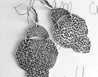 large chandelier earrings . sterling silver shakespeare quote earrings . ogee medallion earrings . silver dangle earrings by peacesofindigo