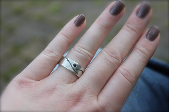 custom recycled silver wedding band. eco friendly mountain landscape band . unisex fair trade blue sapphire engagement ring