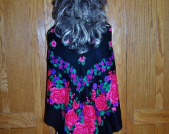 Gypsy Shawl, Black Floral Wrap, Black floral shawl, Black Roses, Scarf wrap, size L